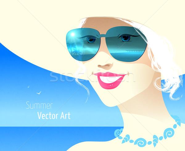 Kız güneş gözlüğü gülümseme yüz güneş Stok fotoğraf © Sonya_illustrations