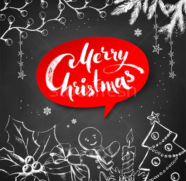 Chalk drawn Christmas illustration with lettering Stock photo © Sonya_illustrations