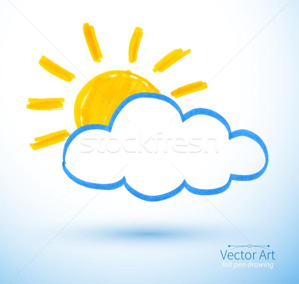Güneş Bulut Kalem çizim Soyut Dizayn Vektör Ilüstrasyonu