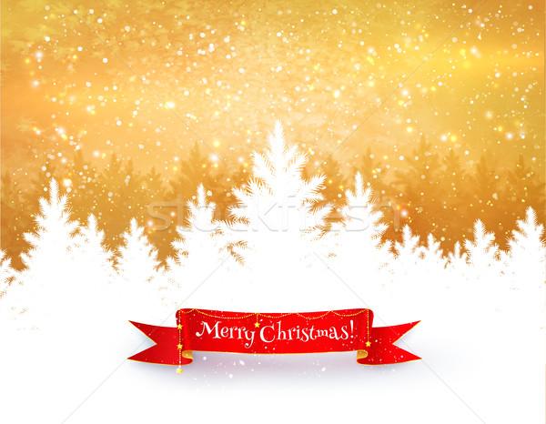 Gold and white winter landscape background Stock photo © Sonya_illustrations