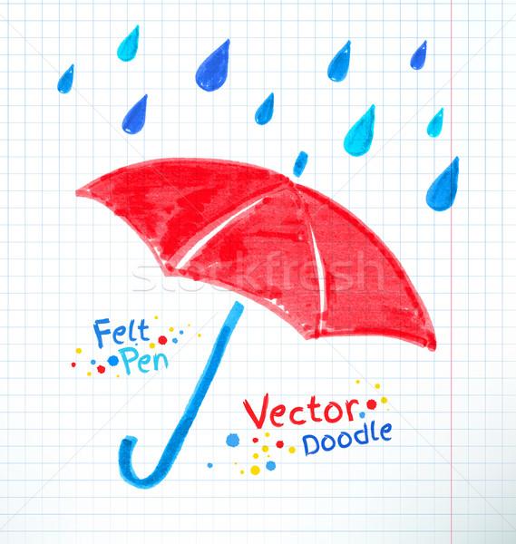 Umbrella and rain drops. Felt Stock photo © Sonya_illustrations