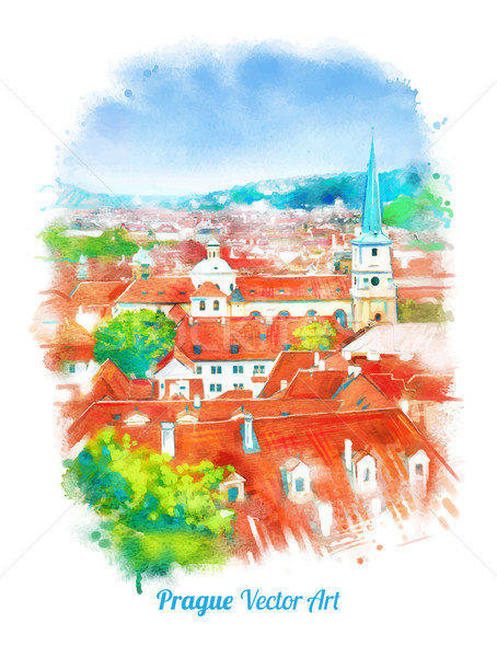 Old Prague skyline view. Stock photo © Sonya_illustrations