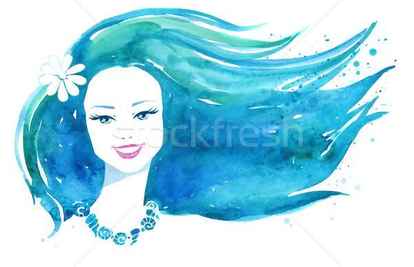 Watercolor girl Stock photo © Sonya_illustrations