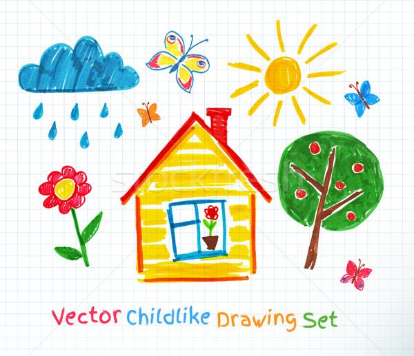 Dibujo establecer escuela cuaderno papel flor Foto stock © Sonya_illustrations