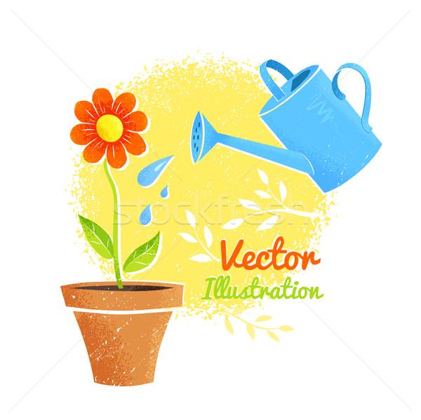 Flor regador crescente textura abstrato natureza Foto stock © Sonya_illustrations