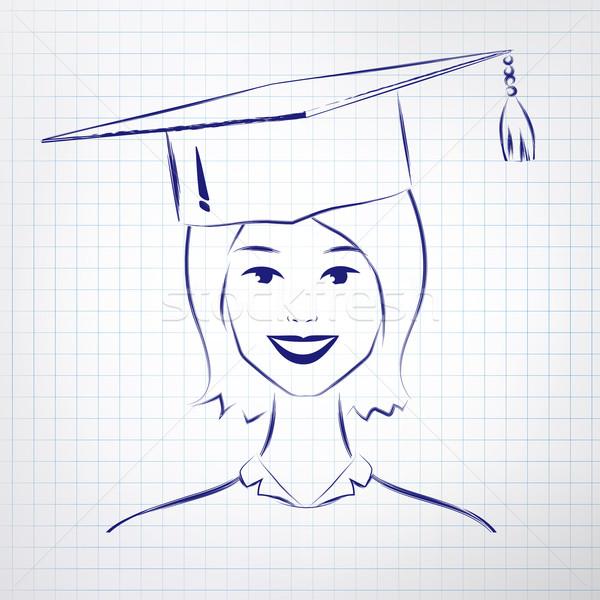 öğrenci kız mezuniyet şapka Stok fotoğraf © Sonya_illustrations