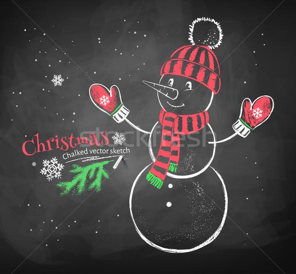 Cute снеговик Hat цвета красный Сток-фото © Sonya_illustrations