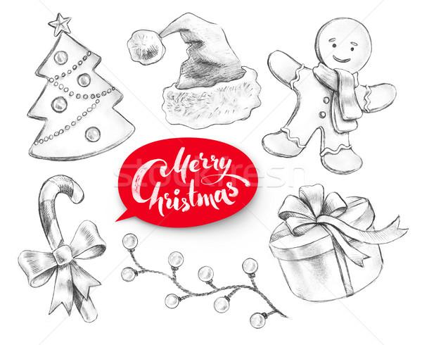 Lápiz colección Navidad objetos dibujado a mano grafito Foto stock © Sonya_illustrations
