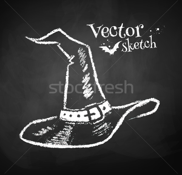 Chalkboard drawing of witches hat. Stock photo © Sonya_illustrations