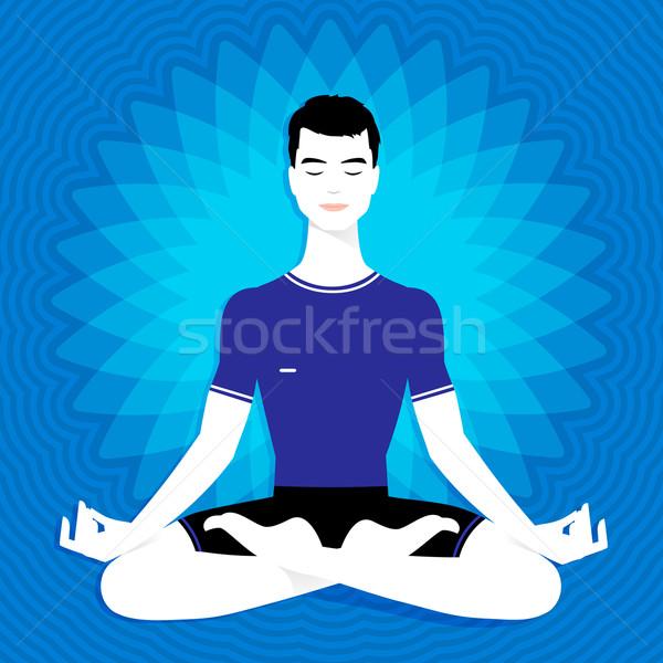 Uomo meditazione felice occhi blu Foto d'archivio © Sonya_illustrations