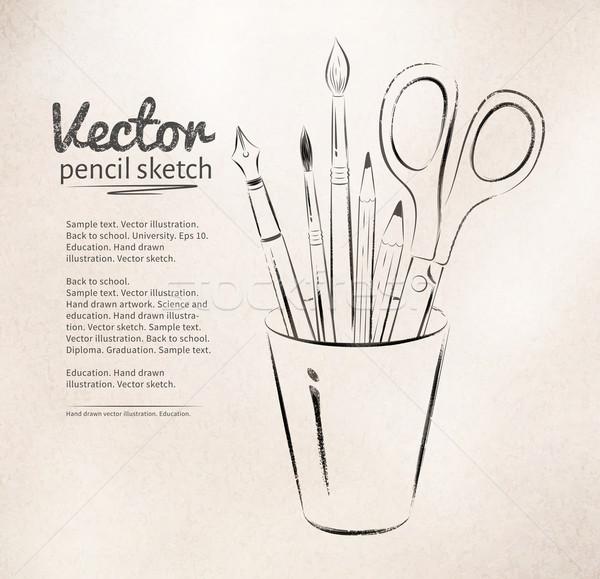 Artist tools in holder. Stock photo © Sonya_illustrations