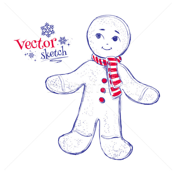 Gingerbread man sorrir arte azul retro Foto stock © Sonya_illustrations