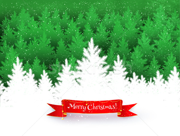 Christmas background with spruce forest silhouette Stock photo © Sonya_illustrations