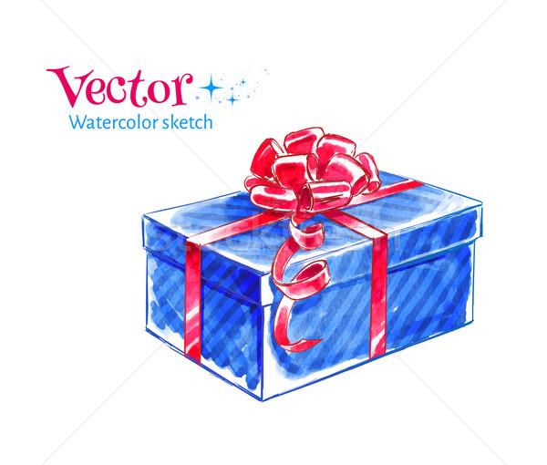Ajándék doboz vektor vízfesték rajz tél retro Stock fotó © Sonya_illustrations