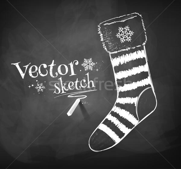 Navidad calcetín pizarra dibujo textura regalo Foto stock © Sonya_illustrations