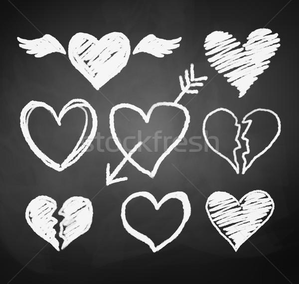 Szívek vektor gyűjtemény grunge esküvő szeretet Stock fotó © Sonya_illustrations