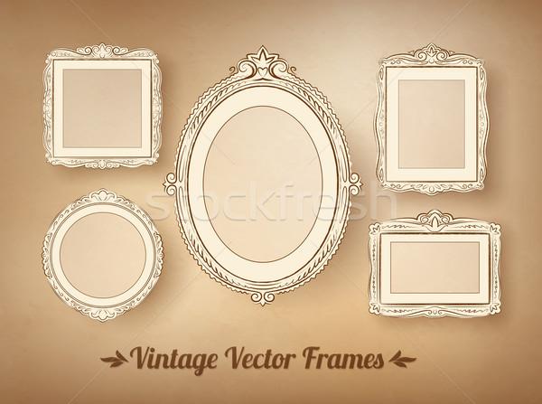 Vintage барокко кадры набор вектора фон Сток-фото © Sonya_illustrations