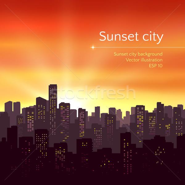 Sunset city landscape.  Stock photo © Sonya_illustrations