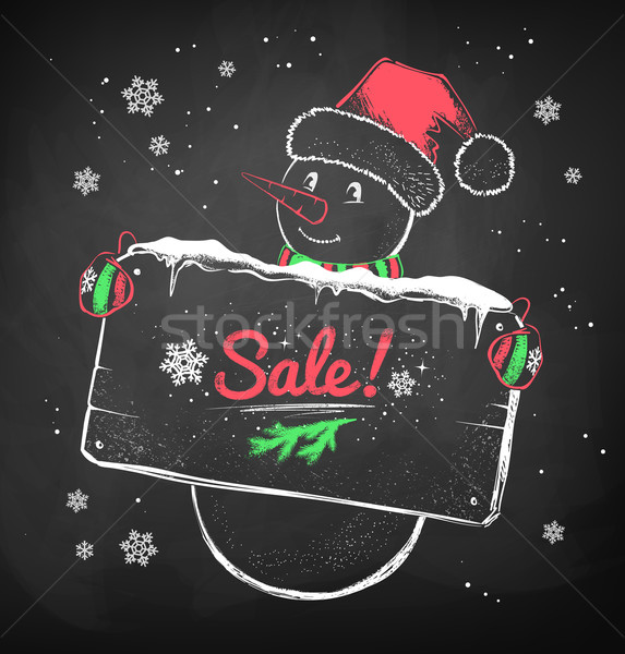 Christmas Snowman with sale signboard.  Stock photo © Sonya_illustrations