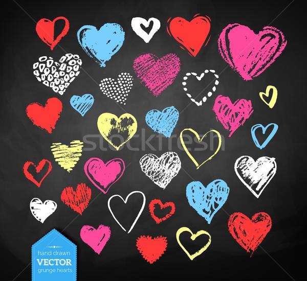 Kréta rajzolt Valentin nap szívek vektor szín Stock fotó © Sonya_illustrations