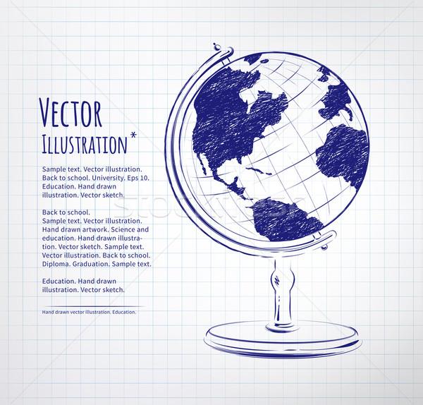 Földgömb rajzolt levélpapír textúra iskola világ Stock fotó © Sonya_illustrations
