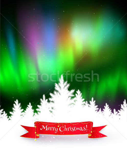 Winter background with northern lights Stock photo © Sonya_illustrations
