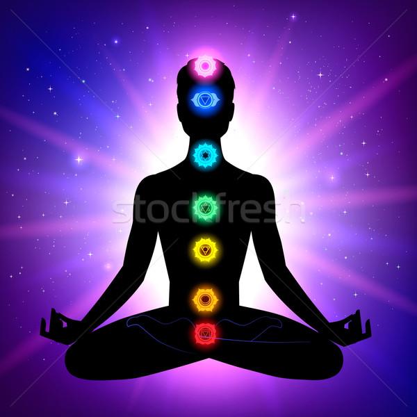 Man meditatie cijfer de kosmische ruimte energie silhouet Stockfoto © Sonya_illustrations