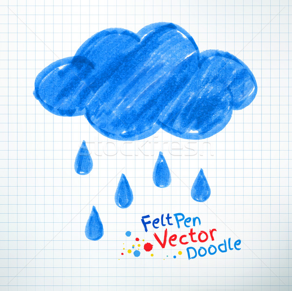 Regenachtig wolk pen tekening notebook Stockfoto © Sonya_illustrations