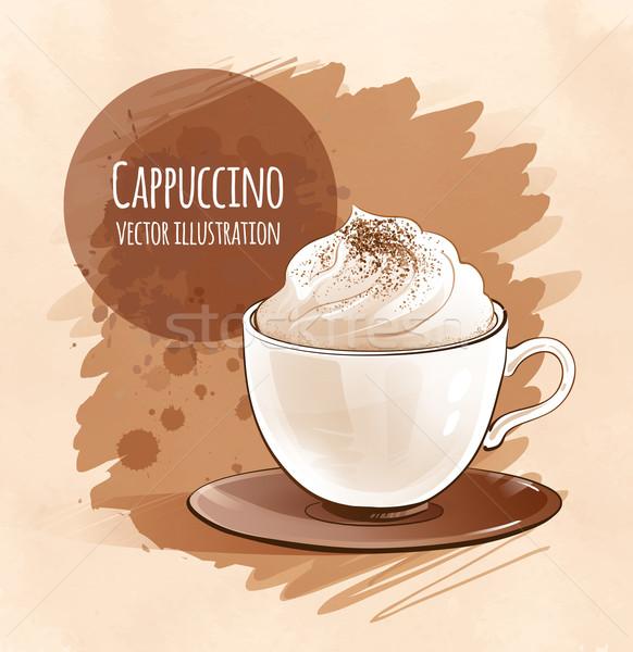 Stock fotó: Cappucchino · vázlatos · kéz · kávé · művészet · ital