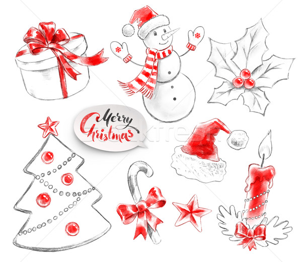 Collectie christmas objecten potlood aquarel Stockfoto © Sonya_illustrations