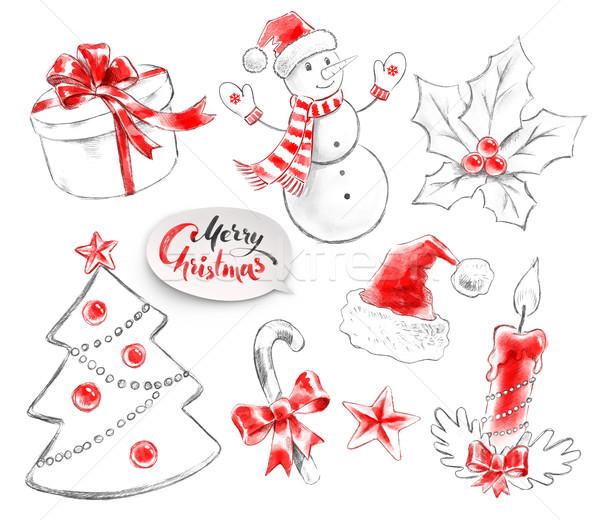 Dibujado a mano colección Navidad objetos lápiz acuarela Foto stock © Sonya_illustrations