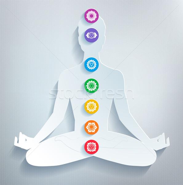 Meditáció férfi alkat egészség művészet energia Stock fotó © Sonya_illustrations