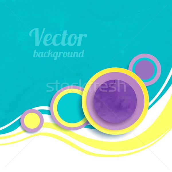 Absztrakt vektor hullámok körök művészet gyűrű Stock fotó © Sonya_illustrations
