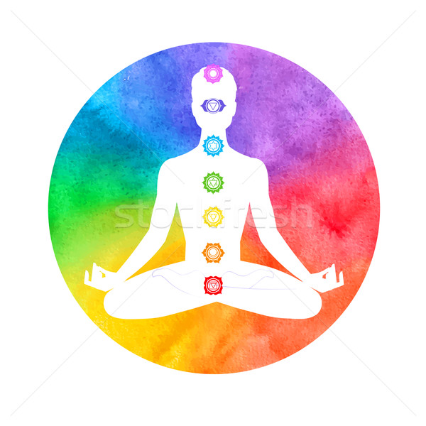 Meditation, aura and chakras. Stock photo © Sonya_illustrations