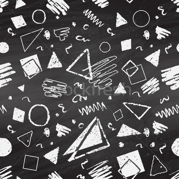 Stockfoto: Meetkundig · grunge · zwart · wit · pleinen