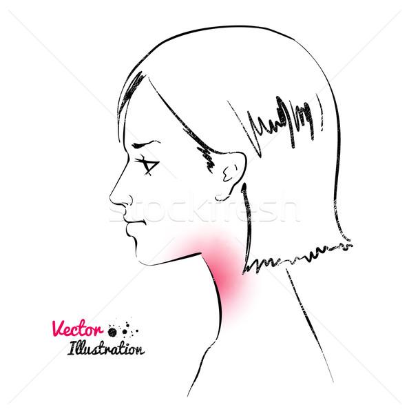 Torokfájás nő orvosi háttér művészet fekete Stock fotó © Sonya_illustrations