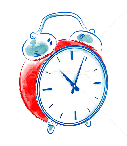 stock photo watercolor of vintage alarm clock