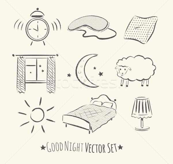 Good night set. Stock photo © Sonya_illustrations