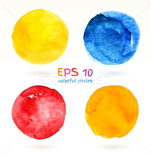 Vízfesték színes bannerek kézzel rajzolt körök vektor Stock fotó © Sonya_illustrations