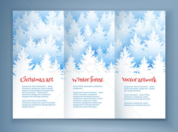 Christmas ulotka szablon zimą wystroić lasu Zdjęcia stock © Sonya_illustrations
