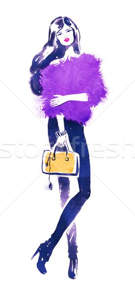 Moda model sarı çanta suluboya örnek Stok fotoğraf © Sonya_illustrations