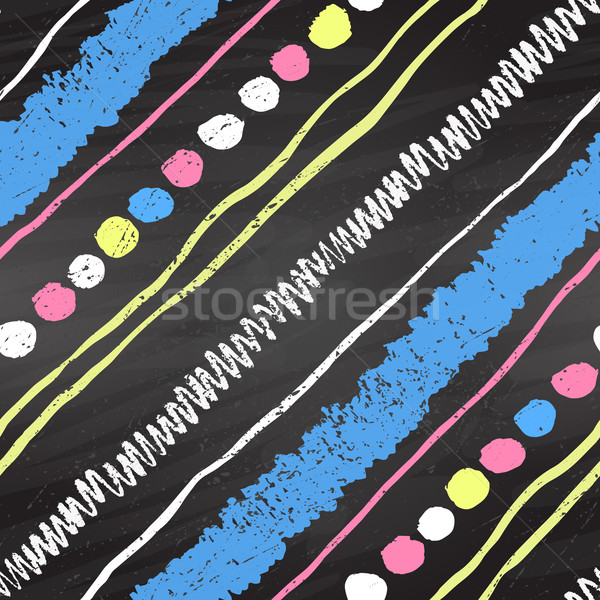 Stock photo: Color chalk seamless pattern