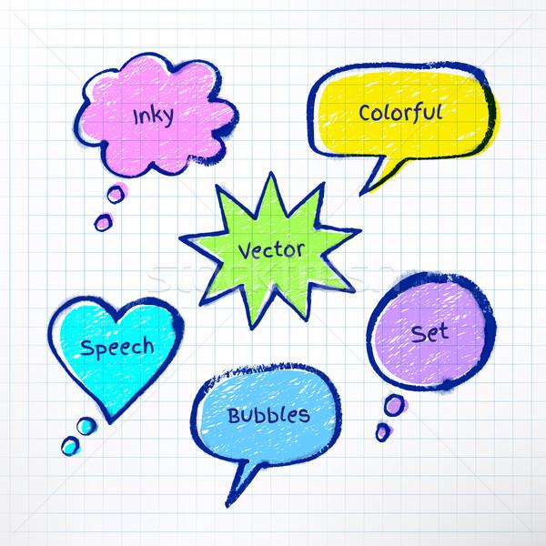 Inky colorful bubble-talks  Stock photo © Sonya_illustrations