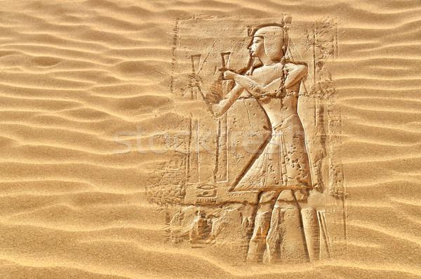 Egipcjanin obraz ukryty pustyni piasku sztuki Zdjęcia stock © sophie_mcaulay
