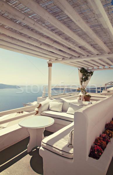 View mozzafiato balcone santorini isola Grecia Foto d'archivio © sophie_mcaulay