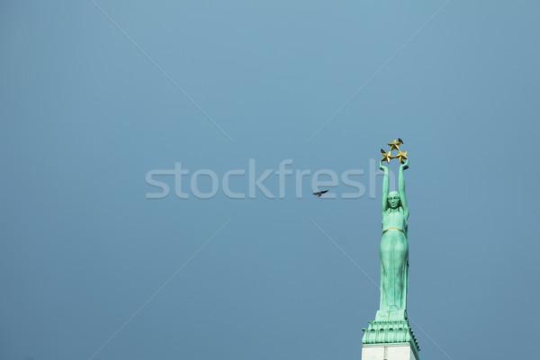 リガ 自由 女性 青 旅行 星 ストックフォト © sophie_mcaulay