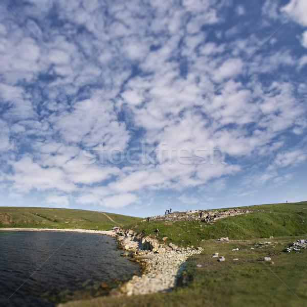 Régészeti helyszín ősi félsziget víz fű Stock fotó © sophie_mcaulay