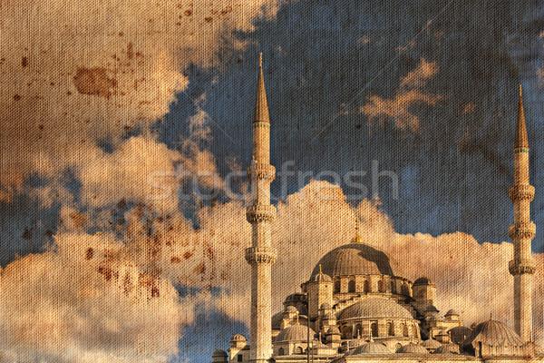 Vintage canvas print Istanbul mosque Stock photo © sophie_mcaulay