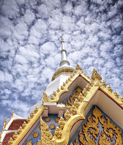Buddhista templom kép égbolt épület kék Stock fotó © sophie_mcaulay