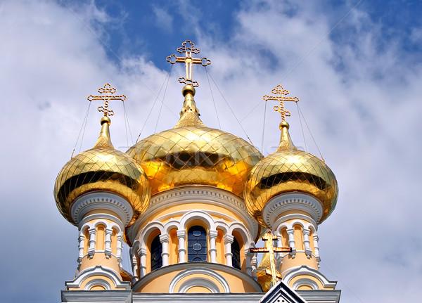 Ortodox kép katedrális égbolt építkezés kereszt Stock fotó © sophie_mcaulay